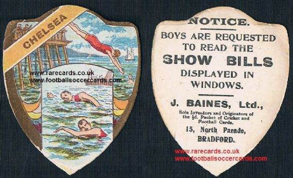 1910 Chelsea swimming club Baines sports card